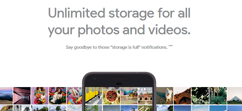 Free unlimited photos at full resolution